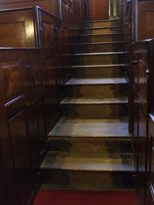 stairs, unitarian chapel, belper, derbyshire.