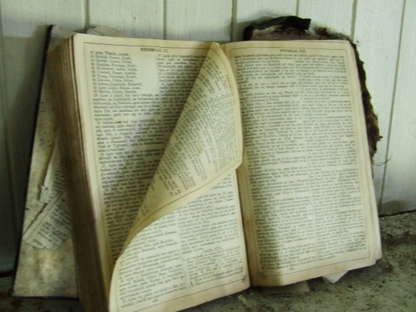 Gaelic Bible, open on the Mantlepiece.
