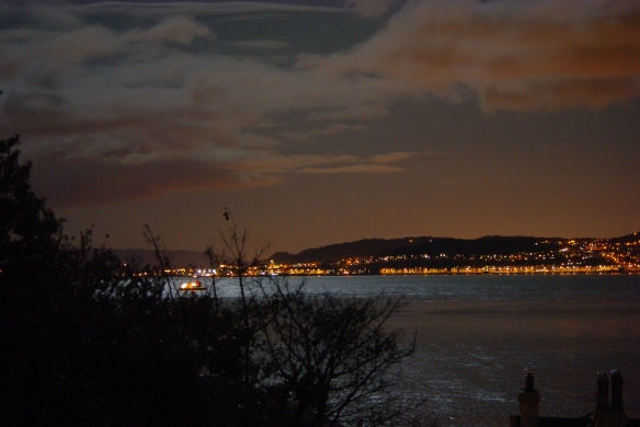 the clyde, november, nightime, western ferries, dunoon