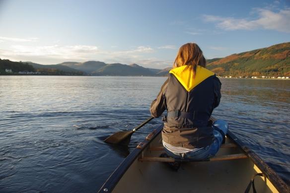 Emily, canoe, holy loch