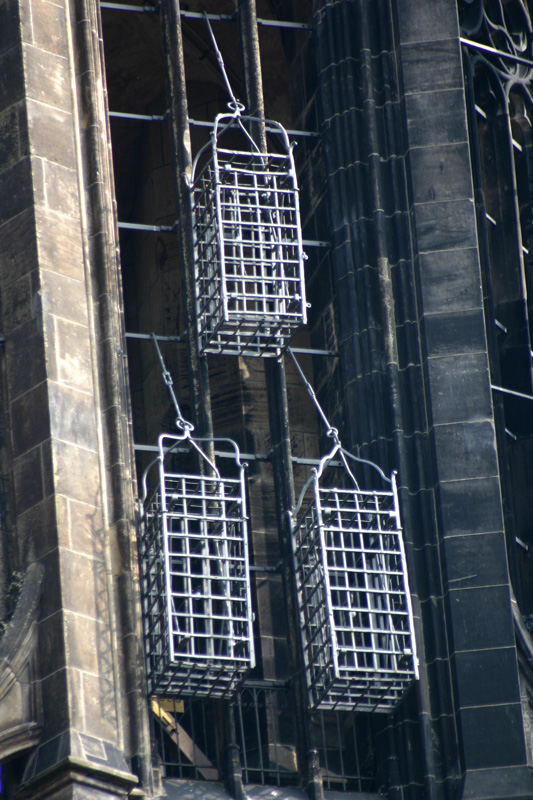 The cages hanging from a church in munster which held the corpses of the anabaptist leaders