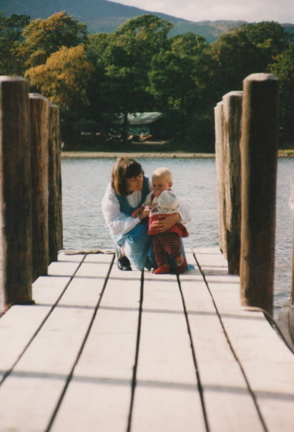 Michaela with Emily, some time in the late nineties, Keswick.