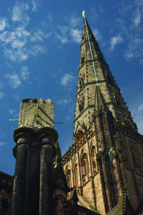 sundial and one of the three Lichfield spires