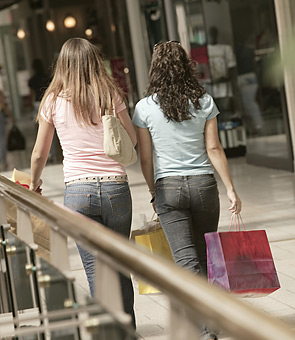 teenagers, shopping mall