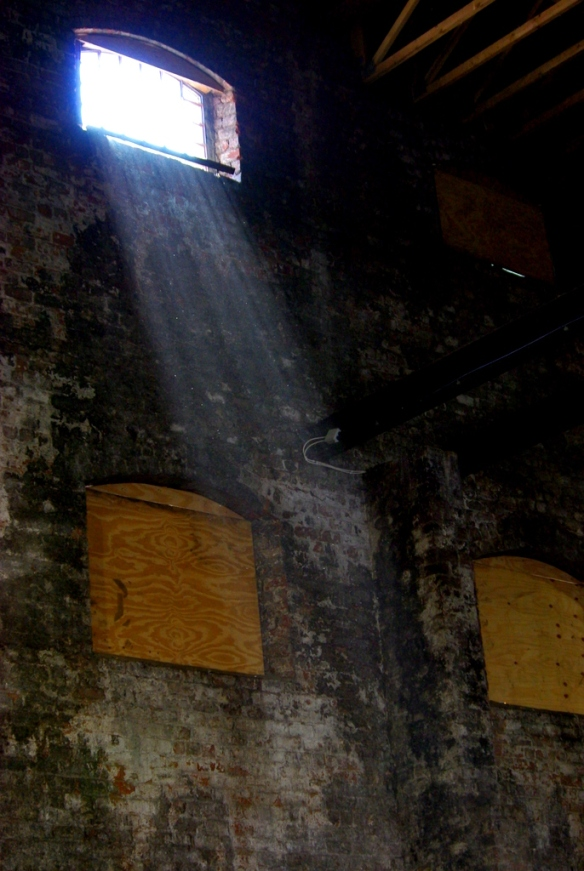 Light from top window, sugar warehouse, Greenock dock