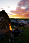 our 'ecowam', fire, sunset
