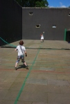 william and emily playing 'air tennis' at the oldest tennis court in the world- Falkland palace