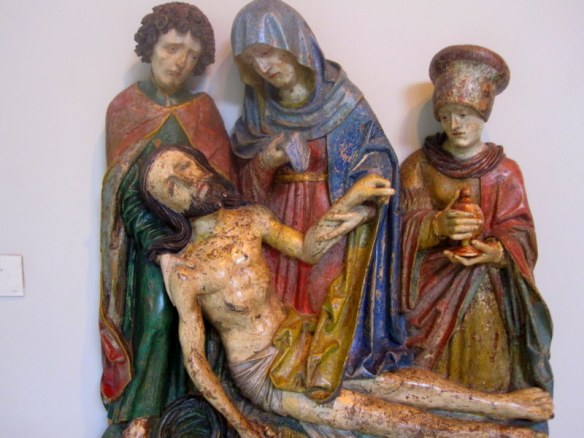 Carved statues, mary, jesus