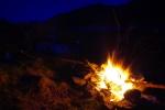 Camp fire night sky