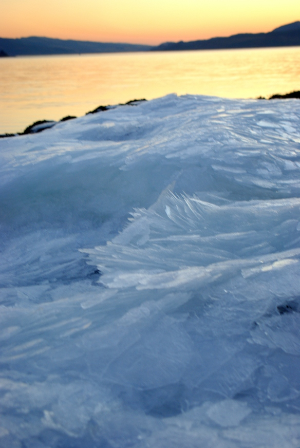 Ice, loch Fyne, sunset
