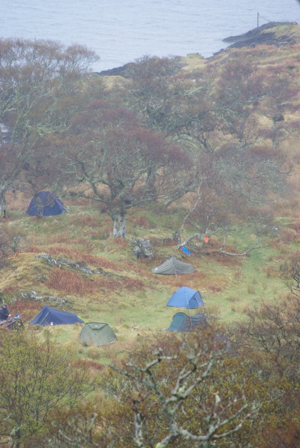 Looking down on our camp site