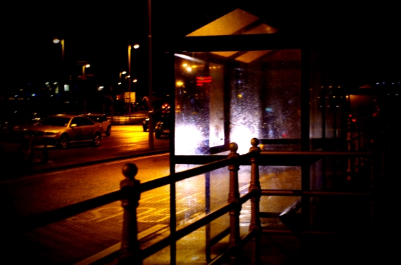 bus, bus stop, night