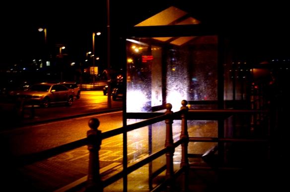 bus, bus stop, night