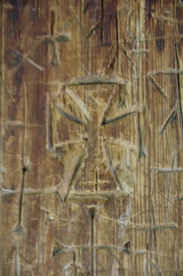 Ancient graffiti, stave church, Norway