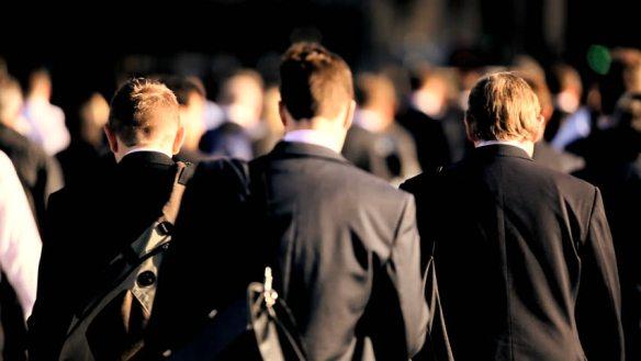 crowd, suits